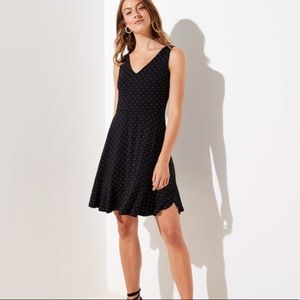 Loft Dotted V-Neck Flare Dress